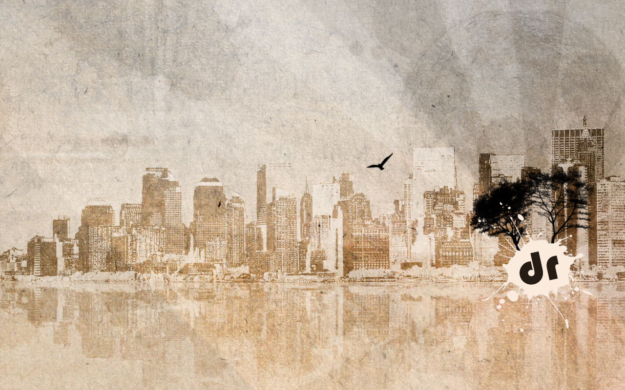 This urban wallpaper features a subdued color scheme and fantastic,